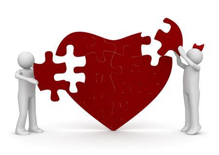 Liefde is een puzzel (liefde, valentine dag serie; 3D-geïsoleerde tekens) Stockfoto