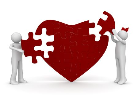 unrecognisable people: Love is a puzzle (love, valentine day series; 3d isolated characters)