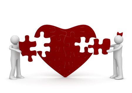 arrogancia: El amor es un rompecabezas (amor, serie de d�a de San Valent�n; personajes aislados 3d)