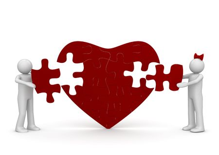 Love is a puzzle (love, valentine day series; 3d isolated characters) photo