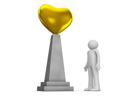 Golden heart monument (love, valentine day series; 3d isolated characters)