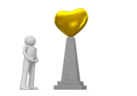 Golden heart monument (love, valentine day series; 3d isolated characters) photo