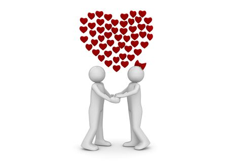 Love thoughts (love, valentine day series; 3d isolated characters) photo
