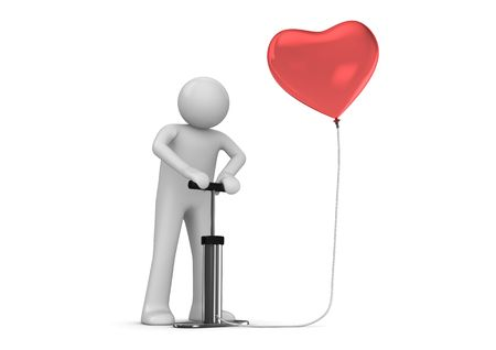 Pump that heart (love, valentine day series; 3d isolated characters) photo