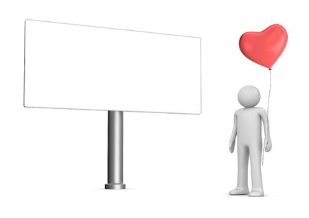 Man with heart balloon billboard (love, valentine day series; 3d isolated characters) Stock Photo - 6238460