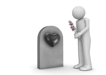 arrogance: Buried love, man with bouquet by the grave (love, valentine day series; 3d isolated characters)