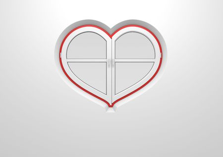 Heart window closed (love, valentine day series; 3d isolated characters)