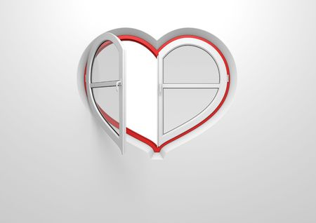 Heart window pre-opened sun blind (love, valentine day series; 3d isolated characters) photo