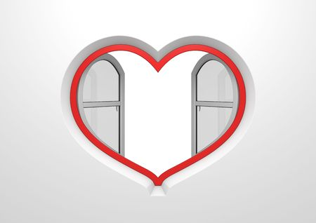 Heart window opened sun blinds inside copyspace (love, valentine day series; 3d isolated characters) photo