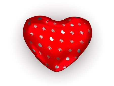 Wrapped heart gift (love, valentine day series; 3d isolated characters) photo