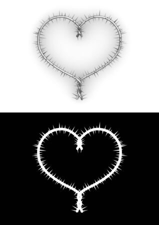 barblock: Barbwire heart with clipping path (love, valentine day series) Stock Photo