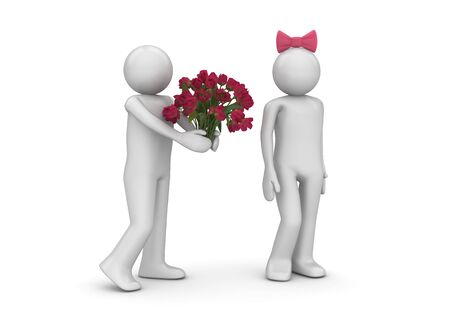Man giving flowers (love, valentine day series; 3d isolated characters) photo