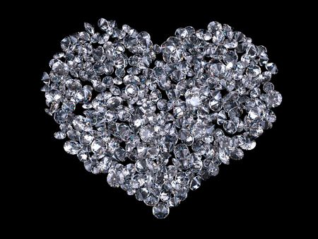 rare: Heart of diamonds (love, valentine day series; 3d isolated objects) Stock Photo