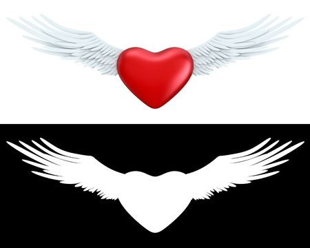 man flying: Winged heart (love, valentine day series; 3d objects with alpha channels) Stock Photo