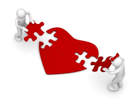 Love is a hard puzzle (love, valentine day series; 3d isolated characters) Stock Photo - 6248548