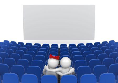 Date in cinema (love, valentine day series; 3d isolated characters) photo