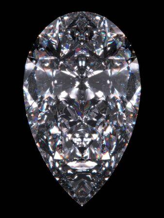 Diamond pear cut (Diamond series; isolated 3d jewellery series)