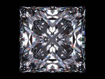 Corte de Princesa de diamante (serie de Diamond; serie aislados de joyería 3d)  Foto de archivo - 6269342