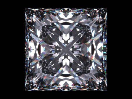 Diamond princess cut (Diamond series; isolated 3d jewellery series) photo