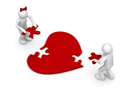 heart disease: LUV puzzle (love, valentine day series; 3d isolated characters) Stock Photo