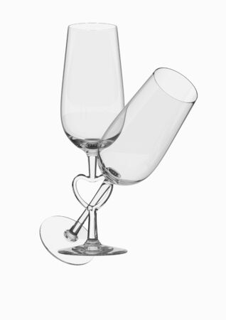 Couple champagne glasses with heart stem (love, valentine day series; 3d isolated characters) Stock Photo - 6269356