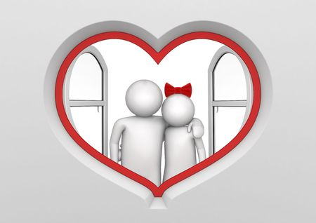 Couple in the heart shaped window (love, valentine day series; 3d isolated characters)