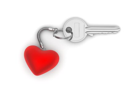 Key to my heart with heart trinket (love, valentine day series; 3d isolated characters) photo