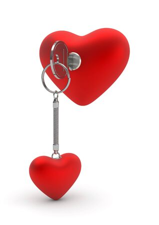 Key opening heart lock (love, valentine day series; 3d isolated characters) photo