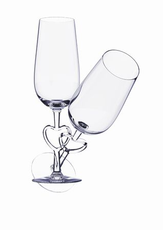 Couple champagne glasses with heart stem (love, valentine day series; 3d isolated characters) photo