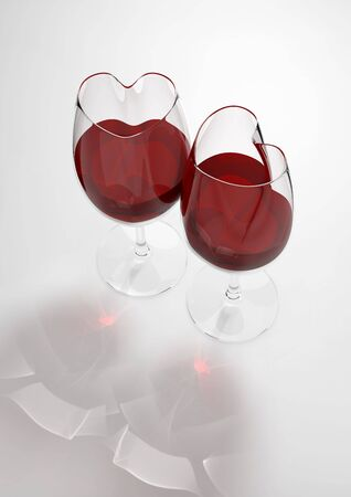 Heart shaped wine glasses filled with love poison (love, valentine day series; 3d isolated objects) photo