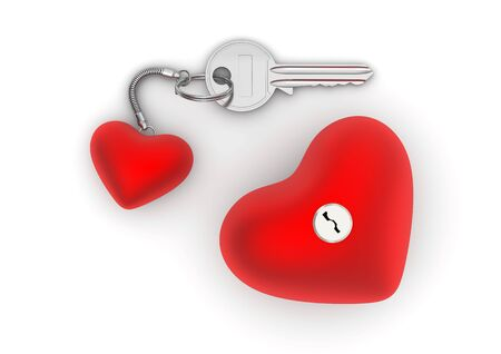doorlock: Key to my heart with heart trinket and lock (love, valentine day series; 3d isolated objects) Stock Photo