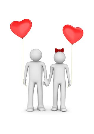 Couple with heart shaped balloons (love, valentine day series; 3d isolated characters) photo