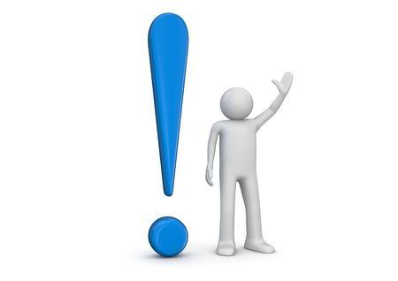 exclamation: marca de exclamaci�n de humano y azul de 3D (3d caracteres aislados, serie de negocio)
