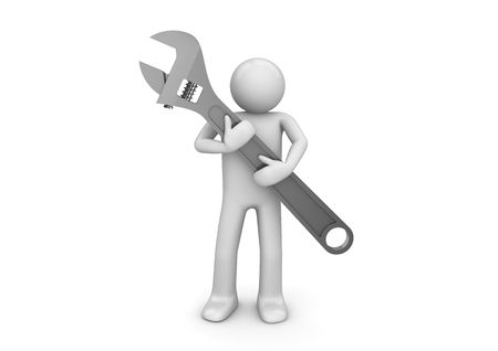 unrecognizable person: Support wrench (3d isolated characters, business series) Stock Photo