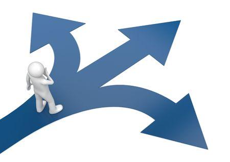 pfad: 2010 neue w�hlen Sie Ihren Weg 2 (3d isolierte Zeichen, Business-Serie)
