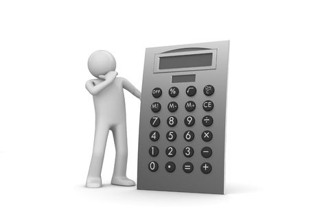 Calculation (3d isolated characters, business series) photo