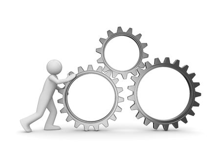gears: Team gear (3d isolated characters, business series) Stock Photo