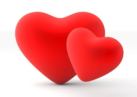 two objects: Two loving hearts (love, valentine day series, 3d isolated objects) Stock Photo