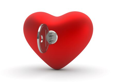 Key to your heart (love, valentine day series, 3d isolated objects) photo