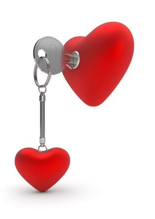 Heart key ring (love, valentine day series, 3d isolated objects) photo