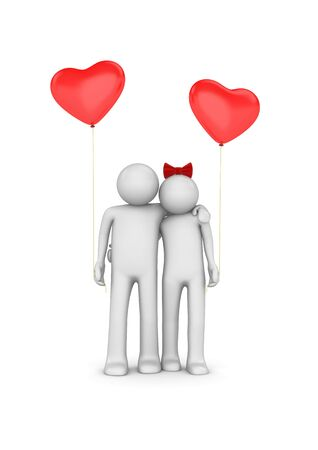 Ballooned love (love, valentine day series, 3d isolated characters) photo