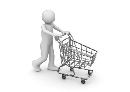 troley: Man with shopping cart (3d isolated characters series)