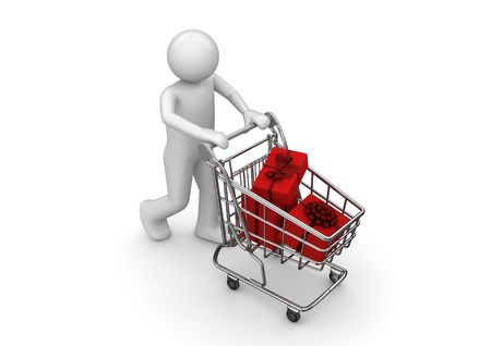 troley: Gifts in shopping cart (3d isolated characters series)