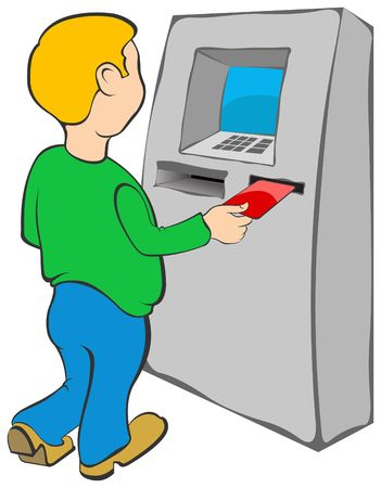 automated teller: Man puts credit card into ATM Stock Photo