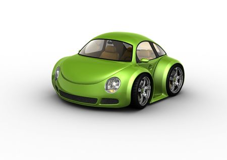 Green car (fancy 3d isolated cars series) Фото со стока