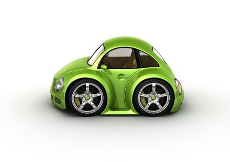 freaks: Green car (fancy 3d isolated cars series) Stock Photo
