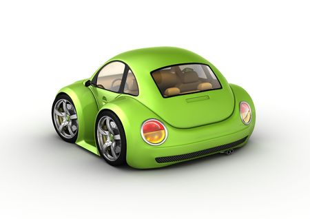 nonexistent: Tiny green car (3d isolated on white background micromachines series)
