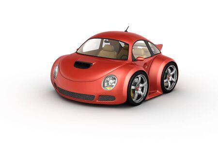 carritos de juguete: Red deporte autom�vil (3d aislados en la serie de microm�quinas de fondo blanco)