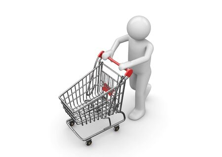 shopping man: Shopping man with cart (3d isolated characters, business series)