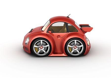 Rode sport auto (3d geïsoleerd op witte achtergrond micromachines-reeks)